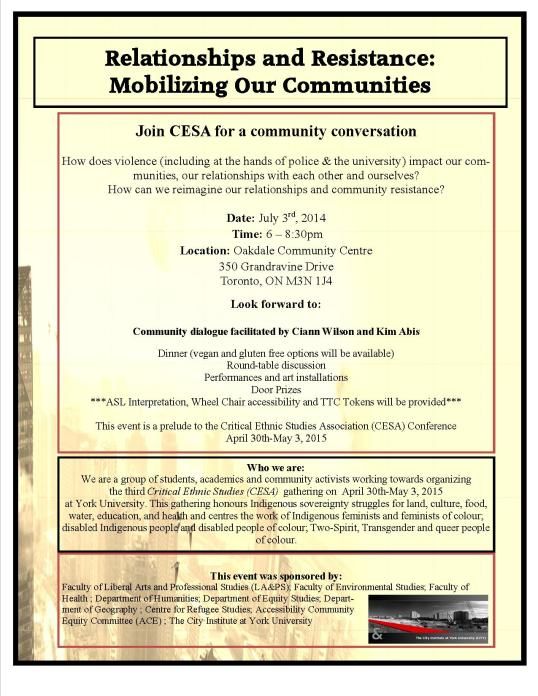 Relationships and Resistance Event